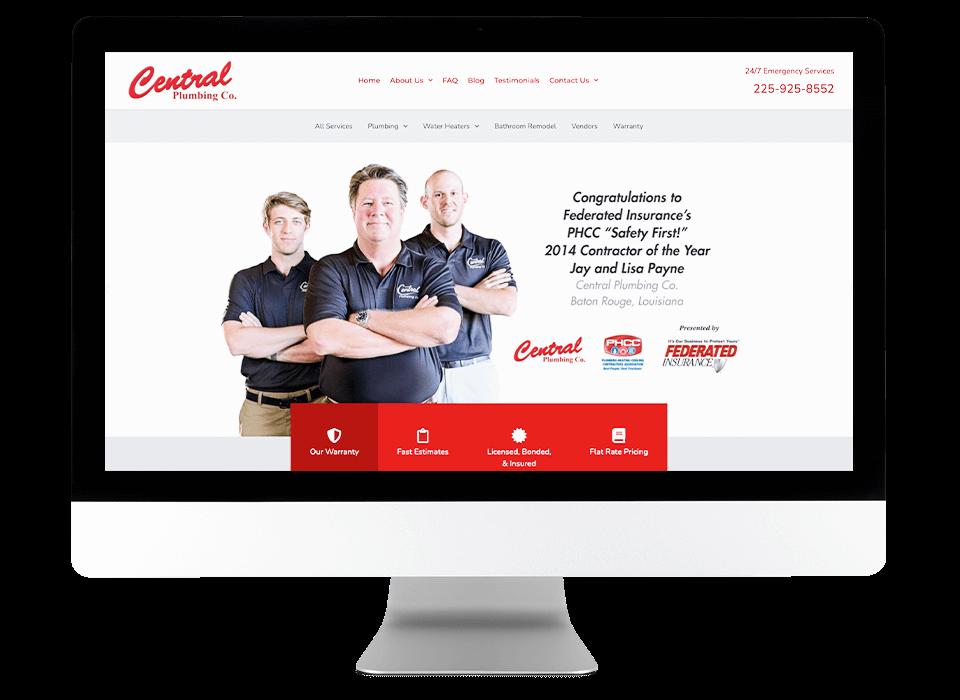 plumber digital marketing website on desktop screen